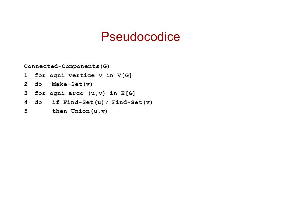 Pseudocodice Connected-Components(G) 1 for ogni vertice v in V[G]